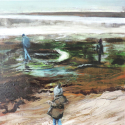 Oil painting of a family on a beach