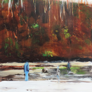 Oil painting of trees and beach