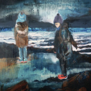 Oil pianitng of two girls on rocky beach
