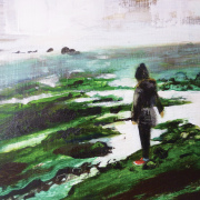 Oil paiinting of girl on a rocky beach with seaweed