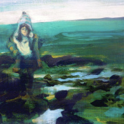 Oil painting of a child on a rocky beach