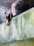 Acrylic painting of jumping figure