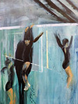 Acrylic painting of jumping girl