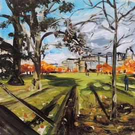 painting, acrylic painting, Edinburgh, The meadows