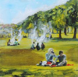acrylic painting, Edinburgh, The Meadows