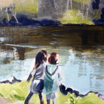 Acrylic painting of girls beside a pond