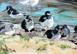 oyster catchers painting