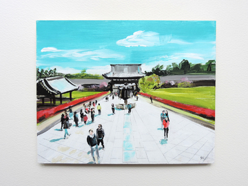 Nara, Japan, Todai-ji temple, people in the landscape, Japanese andscape, Japanese temple, acryic landscape painting, contemporary acrylic paiting, red green blue