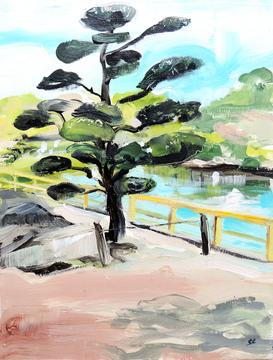 Okayama gardens, Japanese tree, Japanese garden, acrylic painting, tree painting, Japan